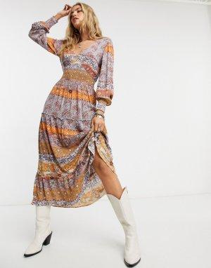 Платье макси с длинными рукавами и принтом пейсли Boho-Мульти Vila