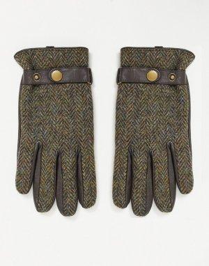 Перчатки из кожи и твида -Зеленый цвет Boardmans