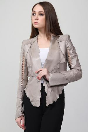 Куртка кожаная Roberto Cavalli. Цвет: серый