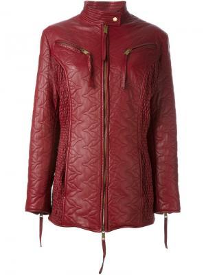 Кожаная куртка на молнии Dolce & Gabbana Vintage. Цвет: красный