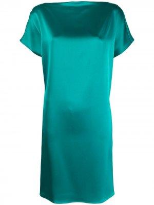 Платье с короткими рукавами и драпировкой Gianluca Capannolo. Цвет: зеленый