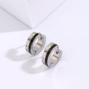 Мужской Серьги-кольца минималистичный SHEIN. Цвет: серебряные