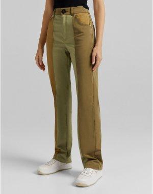 Прямые брюки цвета хаки в стиле милитари -Зеленый цвет Bershka