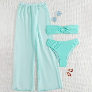 3 пакета бикини и пляжные брюки SHEIN. Цвет: мятно-синий