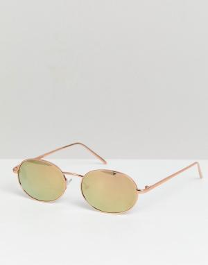 Маленькие круглые солнцезащитные очки цвета розового золота inspired Reclaimed Vintage. Цвет: золотой