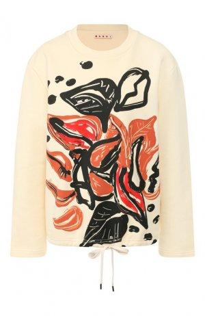 Хлопковый пуловер Marni. Цвет: бежевый