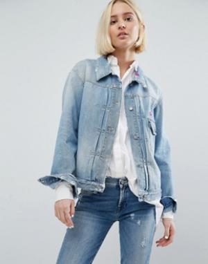 Джинсовая куртка с вышивкой 7 For All Mankind. Цвет: синий