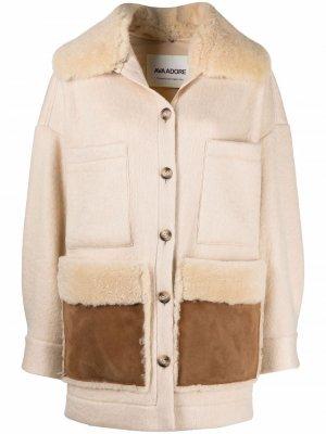 Shearling button-down coat Ava Adore. Цвет: нейтральные цвета