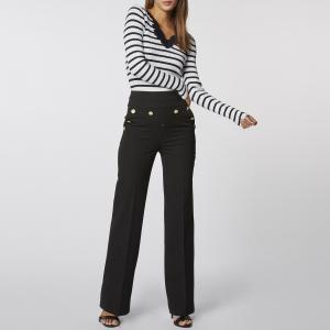 Пуловер в полоску из тонкого трикотажа с V-образным вырезом кружева MORGAN. Цвет: в полоску темно-синий/белый