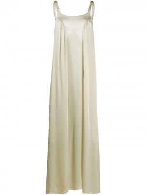 Атласное платье макси Fawn Bordelle. Цвет: зеленый