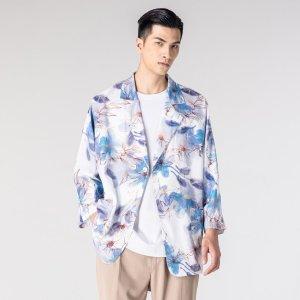 Мужской Пиджак с цветочным принтом двубортный SHEIN. Цвет: многоцветный