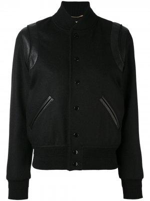 Классическая куртка-бомбер Saint Laurent. Цвет: черный