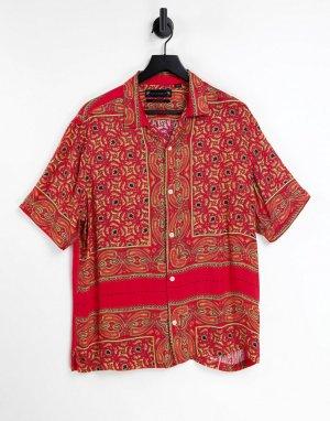 Красная рубашка с коротким рукавом и принтом в стиле банданы Синалоа -Красный AllSaints