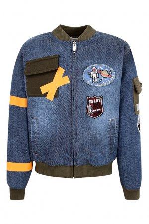 Джинсовая куртка со вставками Dolce&Gabbana Children. Цвет: синий