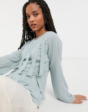 Серая блузка с вставками -Серый Elvi