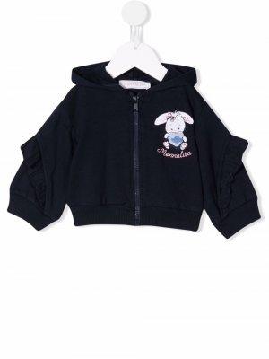 Logo zipped hoodie Monnalisa. Цвет: синий