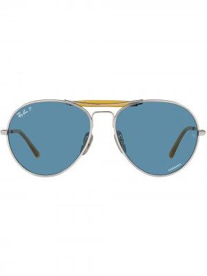 Солнцезащитные очки-авиаторы Ray-Ban. Цвет: серебристый