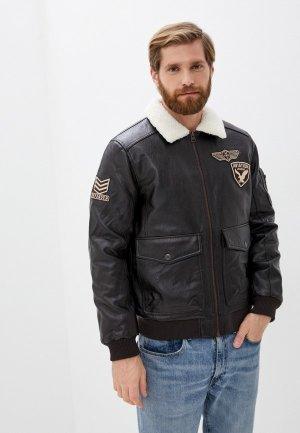 Куртка кожаная Zolla. Цвет: коричневый