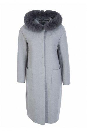 Серое пальто с мехом и большими карманами Eleventy. Цвет: серый