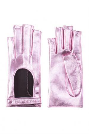 Перчатки из металлизированной кожи Gucci. Цвет: розовый