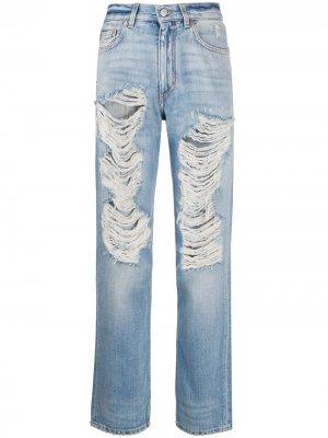 Джинсы прямого кроя с эффектом потертости Givenchy. Цвет: синий
