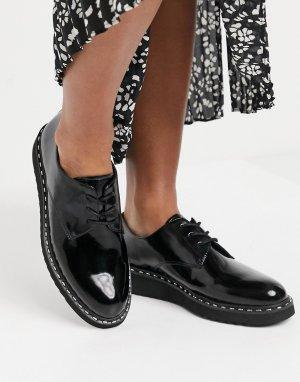 Черные броги со шнуровкой на массивной подошве Aldo-Черный ALDO