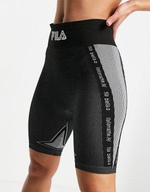 Серые бесшовные шорты-леггинсы со вставками -Серый Fila