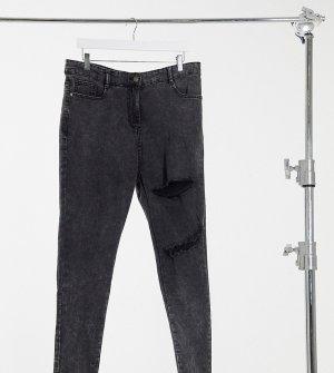 Зауженные джинсы выбеленного черного цвета с двойными разрывами -Черный Yours