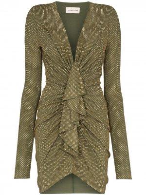 Платье мини с глубоким V-образным вырезом Alexandre Vauthier. Цвет: зеленый