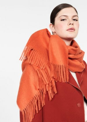 Макси-шарф с бахромой - Sweet Mango. Цвет: оранжевый