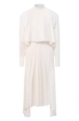 Платье-миди с кружевными вставками и воротником-стойкой Chloé. Цвет: белый