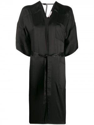 Платье миди с поясом на завязке и V-образным вырезом A.F.Vandevorst. Цвет: черный