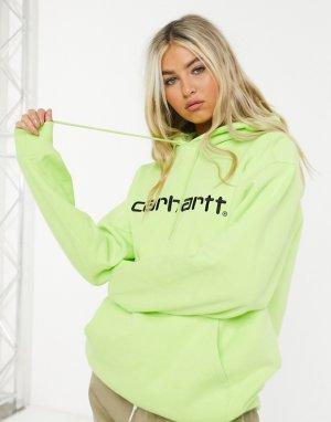 Худи лаймового цвета с черным логотипом -Зеленый Carhartt WIP