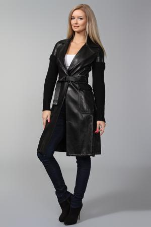 Пальто кожаное с поясом Kaufmanfranco. Цвет: черный