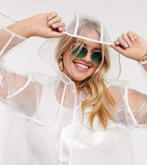 Прозрачный дождевик с перламутрово-белой окантовкой -Белый Brave Soul Plus