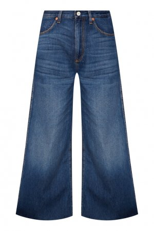 Широкие синие джинсы с нашивками Gucci. Цвет: синий