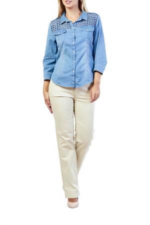 Рубашка LAFEI-NIER. Цвет: голубой
