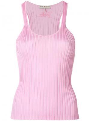 Ребристый трикотажный топ без рукавов Emilio Pucci. Цвет: розовый и фиолетовый