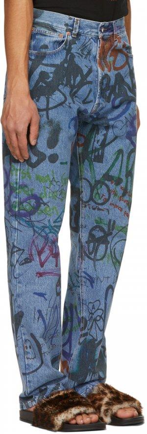Blue Graffiti Straight Jeans VETEMENTS. Цвет: blue 14620080
