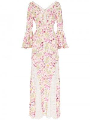 Платье макси с цветочным узором и кружевом byTiMo