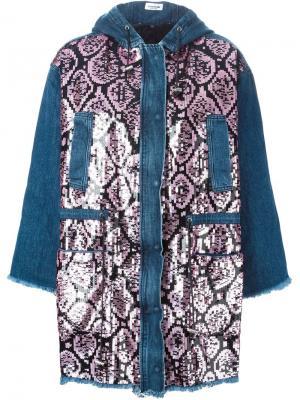 Джинсовое пальто с пайетками Au Jour Le. Цвет: синий