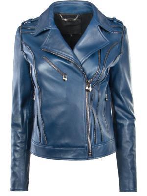 Кожаная куртка Philipp Plein. Цвет: синий