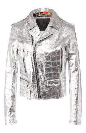 Кожаная куртка Philipp Plein. Цвет: серебряный