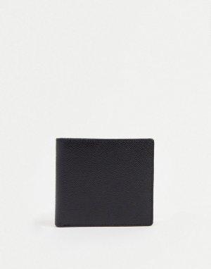 Складной бумажник из зернистой кожи с карманом на молнии -Черный цвет Gianni Feraud
