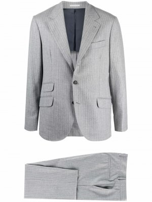 Полосатый костюм с однобортным пиджаком Brunello Cucinelli. Цвет: серый
