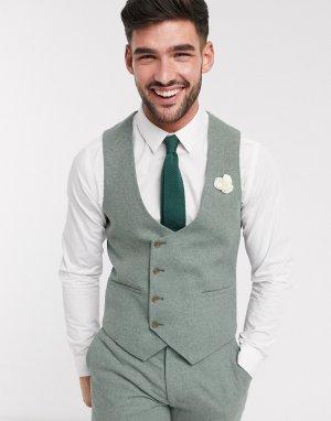 Узкий твидовый жилет Wedding-Зеленый цвет Harry Brown