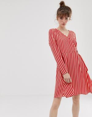 Платье в полоску с запахом Philippa-Красный Blend She
