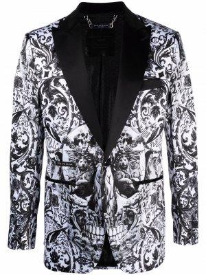 Однобортный пиджак с принтом New Baroque Philipp Plein. Цвет: черный