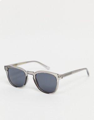 Круглые солнцезащитные очки в стиле унисекс с серыми прозрачными стеклами Bate-Зеленый цвет A.Kjaerbede