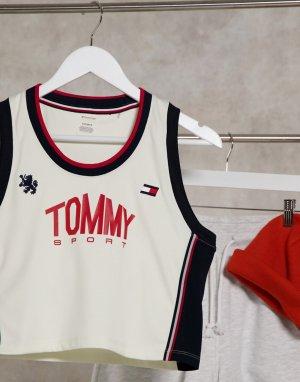 Укороченная майка без рукавов цвета слоновой кости Tommy Jeans Performance Sport-Кремовый Hilfiger Sport